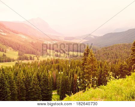Mountains in Crested Butte Colorado in Summer.
