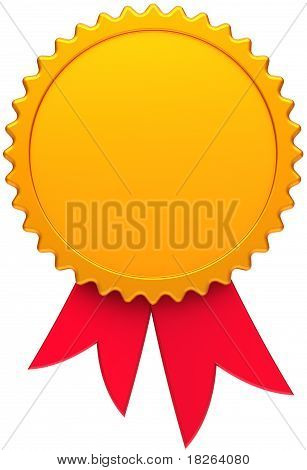 Award ribbon blank golden with red
