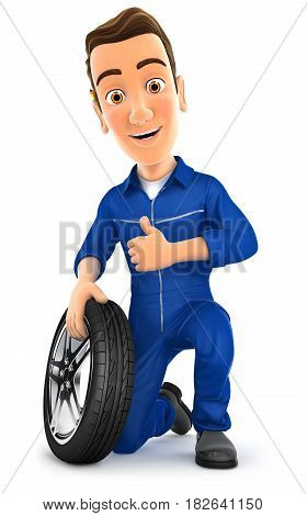 3d mechanic with tire and thumb up illustration with isolated white background