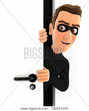 3d thief peeking behind a door illustration with isolated white background