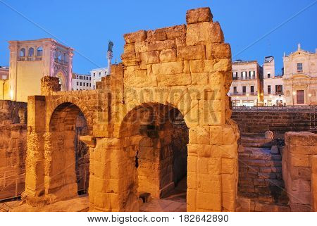 View of  the Roman Amphitheater in Lecce, Italy