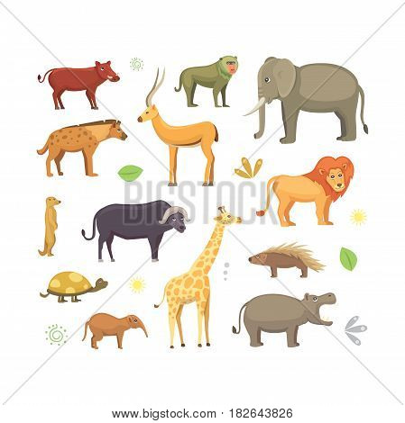 African animals cartoon vector set. elephant, rhino, giraffe, cheetah, hyena, lion, hippo, and outhers. safari isolated illustration