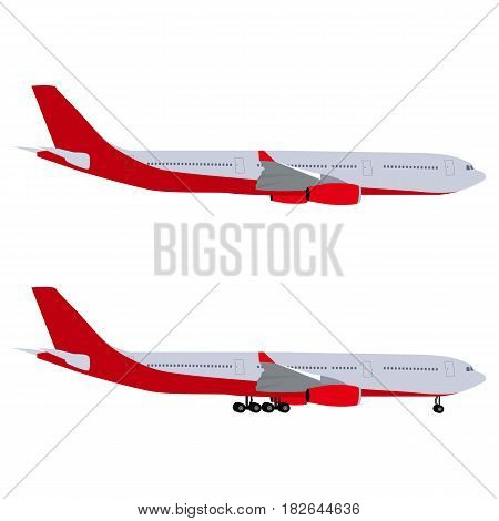 Airplane with chassis and airliner without chassis. On white background vector illustration