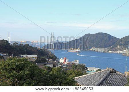 Nagasaki Bay And Megami Bridge In Nagasaki, Japan