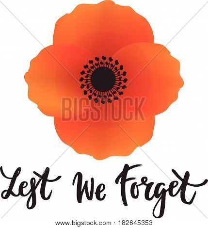 Vector illustration of a bright poppy flower. Remembrance day symbol. Anzac day. Lest we forget lettering.
