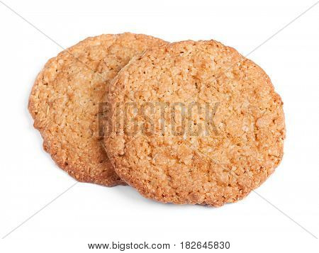 Big oatmeal cookies isolated on white background