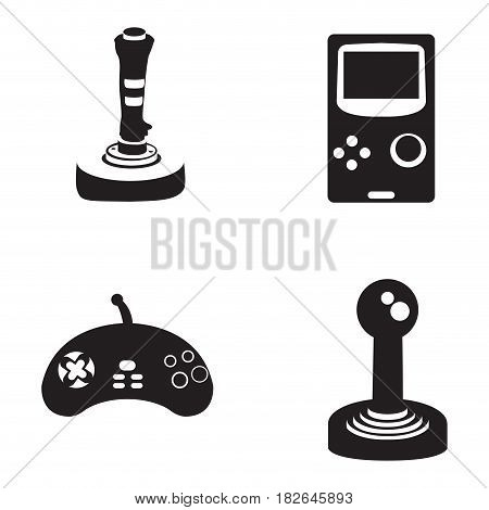 Set of silhouettes of joysticks, Vector illustration