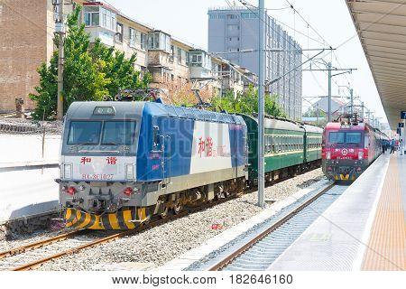 Inner Mongolia, China - Aug 12 2015: China Railways Hxd3C Electric Locomotive In Hohhot Railway Stat