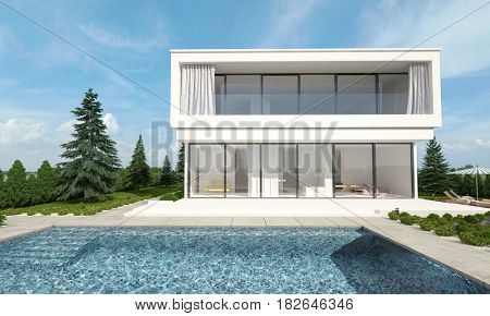Luxury white double storey millionaires villa and sparkling sunlit pool surrounded by evergreen conifers in a rural setting. 3d Rendering.