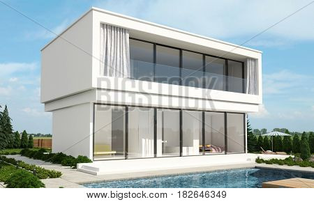 Modern luxury two storey villa with an outdoor patio and large windows overlooking a sparkling pool in a rural setting with pine trees and a beach umbrella in the garden. 3d Rendering.
