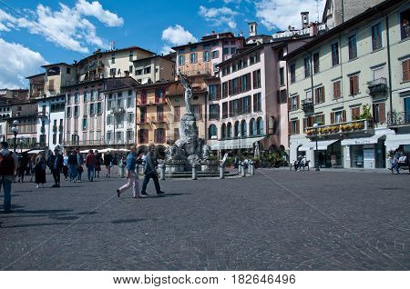 16 april 2017-lovere-italy-square of the city of Lovere on Lake Iseo