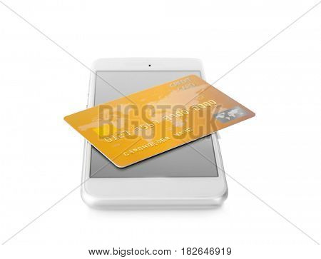 Online shopping concept. Smartphone with credit card on white background