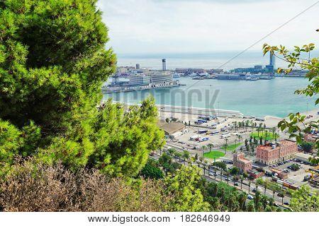 Panoramic view on city harbor