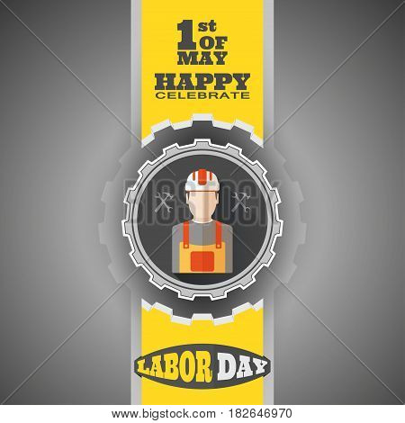 Vector poster of Happy Labor Day with label of gear cut from paper yellow ribbon on the gradient gray background.