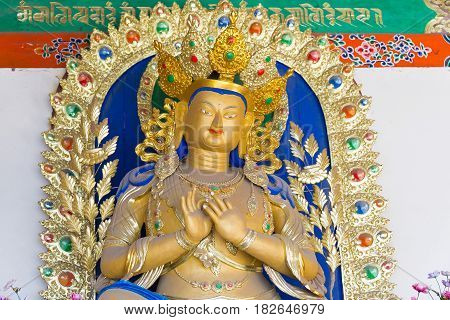 Inner Mongolia, China - Aug 13 2015: Budda Statue At Five Pagoda Temple(wutasi). A Famous Historic S