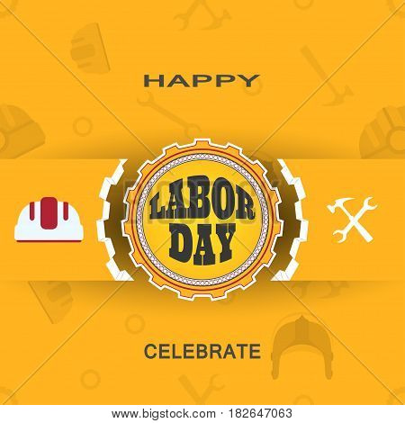 Happy Labor Day vector poster with label of gear cut from paper ribbon shadow on the yellow background with pattern.