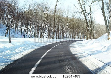 Winter road outside city