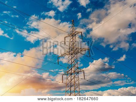 power transmission tower and the beauty of the sunset sky