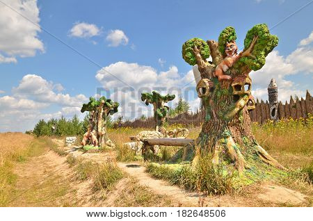 Berendeyevo, Moscow region, Russia, 26 July 2014, summer landscape with fairy tale characters. Blue sky and hot weather.