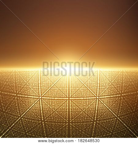 Vector infinite space background. Matrix of glowing stars with illusion of depth and perspective. Abstract cyber fiery sunrise over sea. Abstract futuristic universe on orange background.
