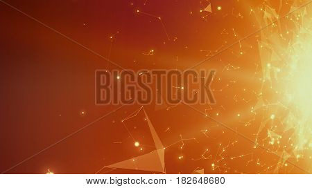 Abstract vector space orange background. Chaotically connected points and polygons flying in space. Flying debris. Futuristic technology style. Elegant background for business presentations.