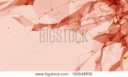 Abstract vector space light red background. Chaotically connected points and polygons flying in space. Flying debris. Futuristic technology style. Elegant background for business presentations.