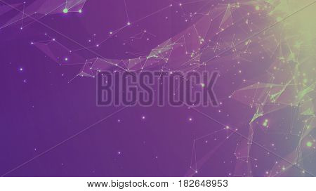 Abstract vector space violet background. Chaotically connected points and polygons flying in space. Flying debris. Futuristic technology style. Elegant background for business presentations.