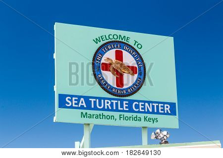 MARATHON FLA/USA - APRIL 13 2017: Sea Turtle Center exterior sign and logo. The Turtle Hospital rehabilitates injured Sea Turtles in the Florida Keys.
