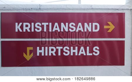 The sign towards Hirtshals and Kristiansand on board of the ferry