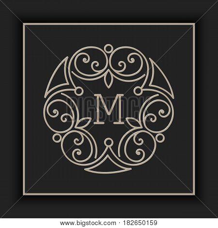 Vector floral and geometric monogram frame on dark gray background. Monogram design element. Vintage styled initial decoration.