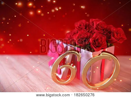 birthday concept with red roses in gift on wooden desk. 3D render - sixtieth birthday. 60th