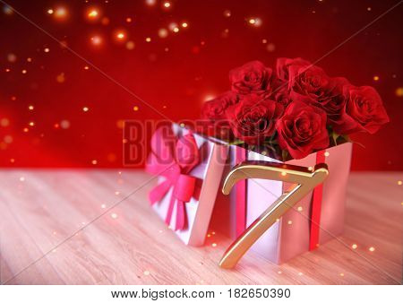birthday concept with red roses in gift on wooden desk. 3D render - seventh birthday. 7th