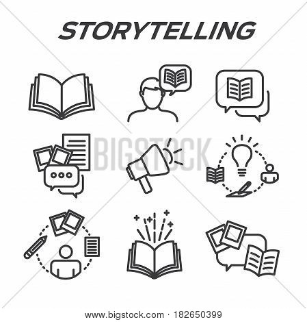 Storytelling Icon Set With Speech Bubbles