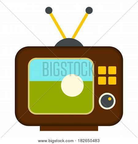 Ball on the screen of retro TV icon flat isolated on white background vector illustration