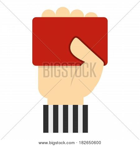 Hand of soccer referee showing red card icon flat isolated on white background vector illustration
