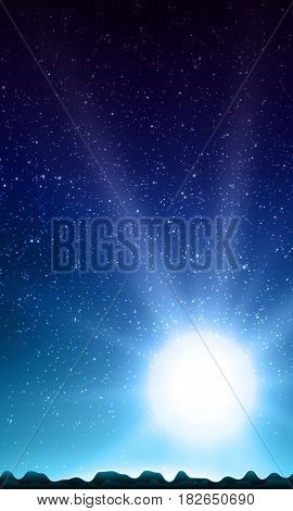 Night sky with stars. Abstract vector background with mountain landscape and sky with stars. Glow of rising sun over the mountains. Morning on distant planet. Sparkles of alien stars.