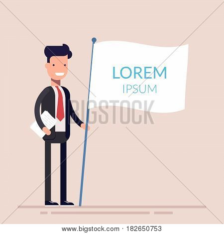 Manager or businessman holding a white flag in his hand. Flat character isolated on background. Lorem ipsum. Vector illustration