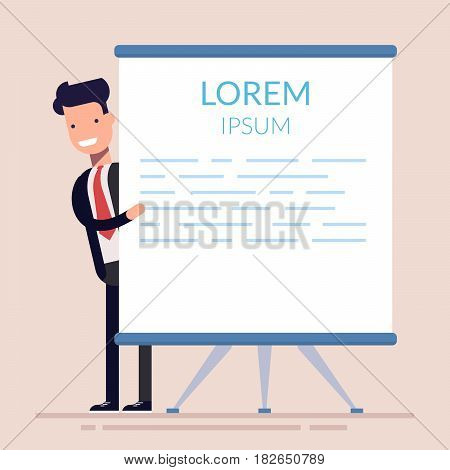 Concept of seminar, training, workshop. Manager or businessman points to flip chart. Flat character isolated on background. Lorem ipsum. Vector illustration