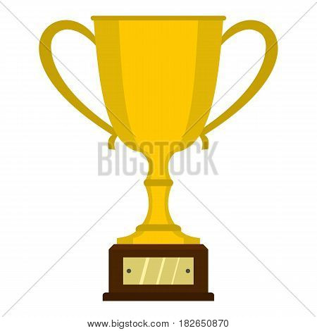Gold trophy cup icon flat isolated on white background vector illustration
