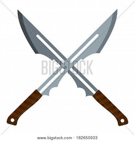 Japanese short swords icon flat isolated on white background vector illustration