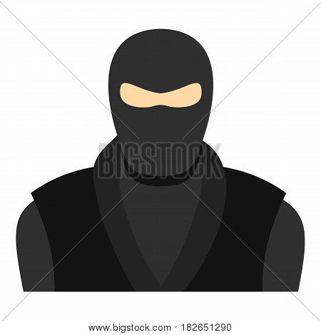 Ninja in black clothes and mask icon flat isolated on white background vector illustration