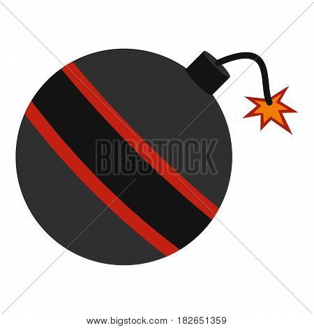 Bomb ready to explode icon flat isolated on white background vector illustration