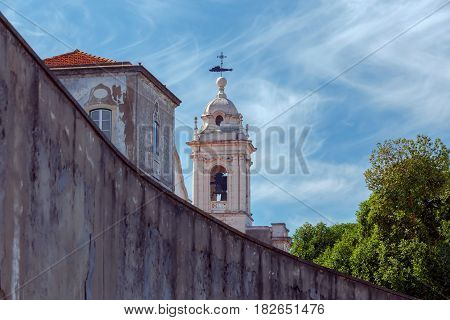Tower of the bell tower of the church of Senhora de Monte. Lisbon. Portugal.