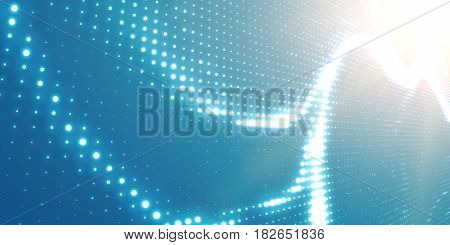 Abstract vector light blue background with shining neon lights. Neon sign with abstract image in perspective. Glowing partxicles. Elegant modern background for business presentations.