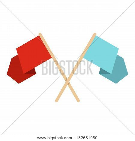 Red and blue crossed flags icon flat isolated on white background vector illustration