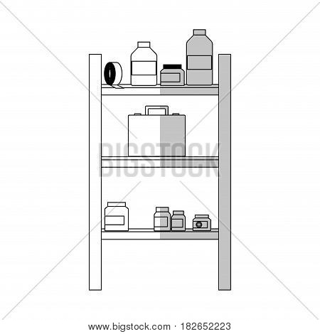 shelves with medical supplies over white background. vector illustration