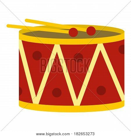 Red drum and drumsticks icon flat isolated on white background vector illustration