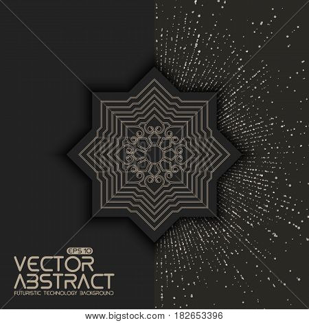 Invitation, cards with ethnic arabesque elements. Zentangle styled element. Arabesque style design. On point explosion background. Business cards. eps10