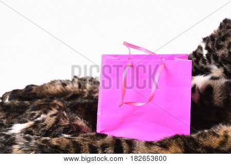Pink Shopping Holiday Package For Present On Fur Coat