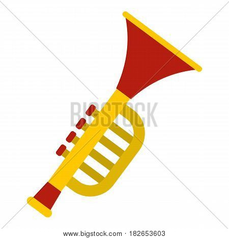 Colorful trumpet toy icon flat isolated on white background vector illustration
